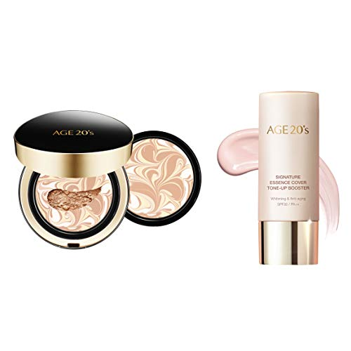 AGE 20's Make up Set, Signature Double Cover Foundation Cushion Pact #23 Medium Beige + Tone-Up Booster