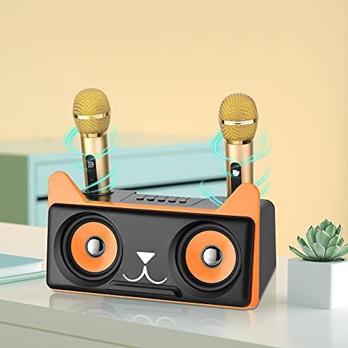 Máquina de Karaoke con 2 Micrófonos Inalámbricos S SMAUTOP Altavoz Bluetooth Recargable Sistema PA Portátil Máquina de Canto con Soporte para Teléfono para Niños y Adultos, Soporte AUX, USB,Tarjeta TF