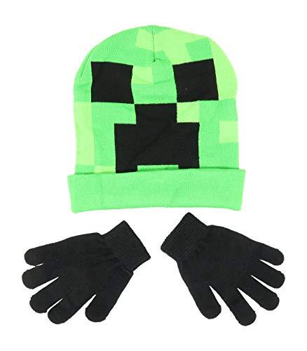Minecraft Creeper Face Flip Down Cuff Kids Beanie Mütze und Handschuhe Set New Green