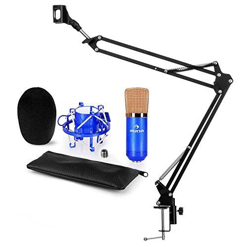 auna CM001B Mikrofon-Set V3 Kondensatormikrofon + Mikrofonarm (XLR-Mikrofon, Niere, Mikrofonspinne, Windschutz, faltbarer Mikrofonarm mit Tischplatten-Klemmschraube) schwarz