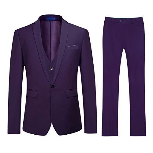 Traje para Hombre 3 Piezas Slim Fit Elegantes Vestir Trajes 1 Botón Blazer Chalecos y Pantalones