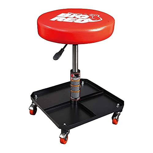 BIG RED TR6350 Torin Rolling Pneumatic Creeper Garage/Shop Seat: Padded Adjustable Mechanic Stool with Tool Tray Storage, Red