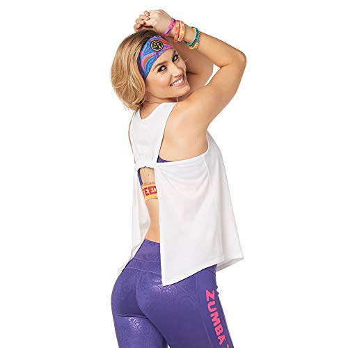 Zumba Activewear Backless Top Deportivo Dance Fitness Camisetas de Entrenamiento, White Vibes, X-Small