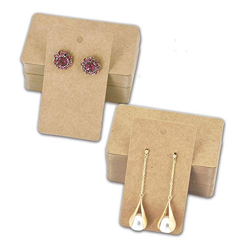 HUAPRINT Earring Card Holder,Earring Cards(Brown, 200 Pack)-Jewelry Display Card-Blank Kraft Paper Tag-Hanging Jewelry Cards for DIY Ear Studs, Earring Packaging