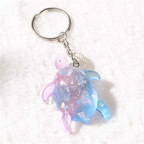 Jiechu 1PC Summer ocean style multi kinds sea animals Keychain glitter flatback resin pendant necklaces charms for woman