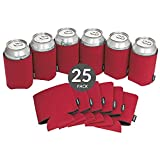 KOOZIE Beer Can Cooler 25 Pack Blank Bulk Insulated Holder for Soda Cans or Water Bottles DIY Personalized gifts for Weddings, Bachelorette Parties, Birthdays, Baby Showers (Red)
