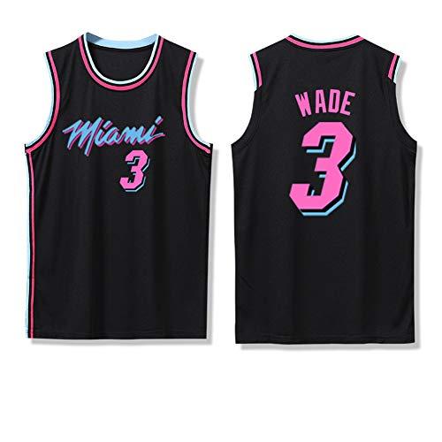 Z/A Dwyane Tyrone Wade # 3 Miami Heat Basketball-T-Shirt Lässig Sport Kurzarm Sommer Loser Sport Basketball Uniform Top-T-Shirt,S