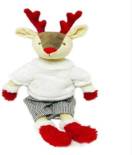 siyat Plüschspielzeug 33 cm gekleidete Hirsche gefüllte Plüsch Tierpuppe mit abnehmbarem Outfit Birhtday Geschenk für Junge Schönes Rentier weiches Spielzeug mit Mantel dekorieren Geschenke Jikasifa