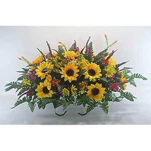 R51 Cemetery Flower Arrangement, Headstone Saddle, Grave, Tombstone Arrangement, Cemetery Flowers