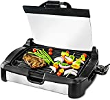 Ovente 2 in 1 Electric Countertop Powerful Contact Grill with Glass Lid & Nonstick Ceramic Grill & Griddle Plate, Portable Stainless Steel BBQ Grill with Removable Drip Tray Easy Clean, Black GR2001B