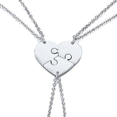 VNOX 3 Piece Heart Puzzle Piece Necklace Set Delicate BBF Friendship Necklace for 3,Birthday Bridesmaid Gift