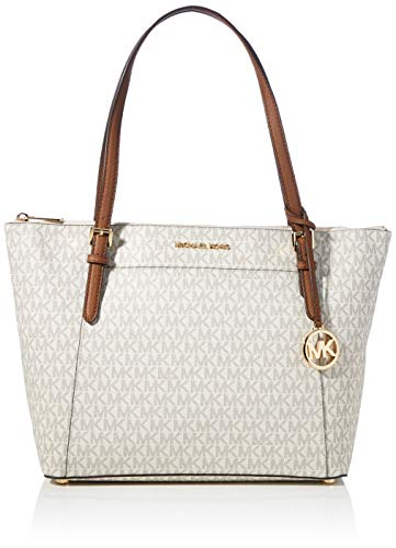 Michael Kors Women's Ciara Large Top Zip PVC Leather Tote Shoulder Bag Vanilla 2019