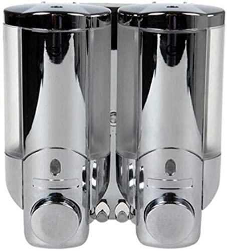 WKLIANGYUANPING Dispensador Gel Hidroalcoholico, Doble dispensador de jabón Punch Montado en la Pared Jabón de jabón de la Pared Champú Gel de Ducha for el Hotel o la Ventana Transparente del baño