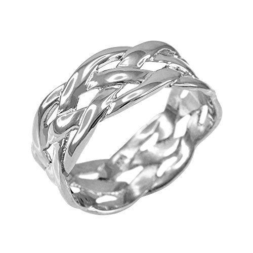 Celtic Weave Wedding Band in Polished 925 Sterling Silver (Size 11)