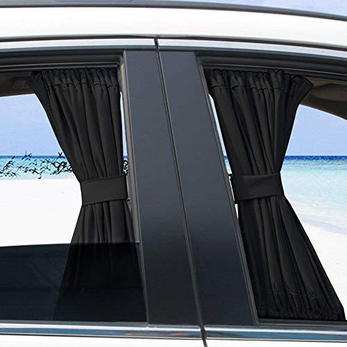 BININBOX 2X 70/50cm Auto Rear Valance UV Sunshade Drape Visor Car Side Window Curtain (Black, 50S(19.68''X15.35''))