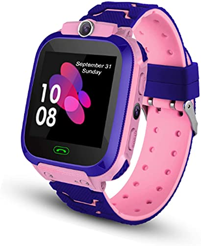 Smart Watch Kids, Touch Screen Smart Watch with LBS Tracker SOS Two Way Call Voice Chat Math Game Alarm Clock Camera Wrist Watches for Boys Girls Holiday Christmas Birthday Gifts (Pink)