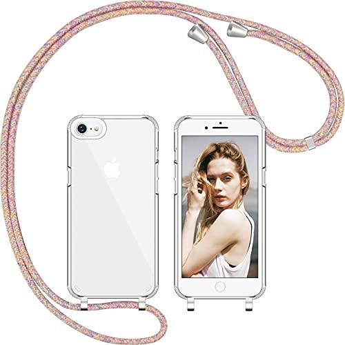 Nupcknn Funda de silicona líquida para iPhone 7/8/SE 2020 y protector de pantalla para el cuello (extraíble), funda con cordón para colgar, funda con banda (arco iris)