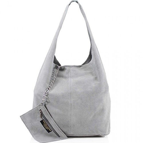 AMBRA Moda Damen Ledertasche Shopper Wildleder Handtasche Schultertasche Beuteltasche WL818 (Grau)