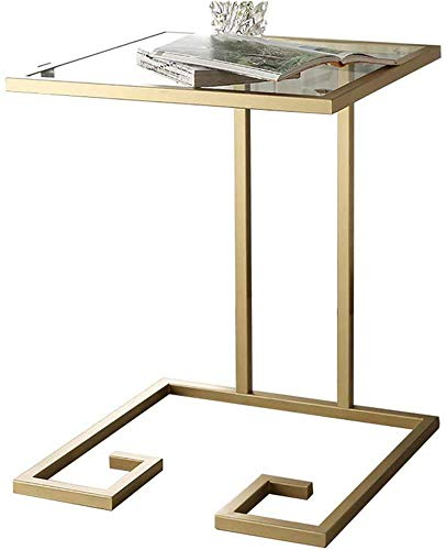Nest Of Tables White Coffee Table Side Tables Laptop Table Lapdesks Sofa Side Coffee Snack Metal + Tempered Glass Bedside Computer Desk Side 45 * 45 * 60CM for All Workstations,Gold
