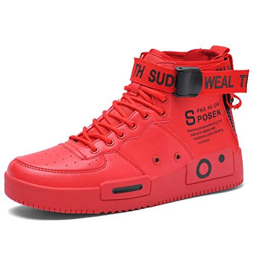 XIDISO Chaussures de Course pour Femme Baskets Montantes Freestyle High Top Casual Chaussures de Sport, Rouge, 40 EU