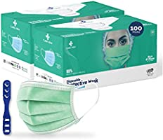 Medohealthy 3 Ply Disposable Face Masks (Pack of 100,Green) with nose pin BIS, (ISI) Certified mask with Melt blown layer