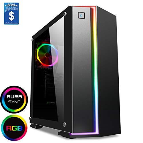 Game Max Starlight Mid-Tour RGB PC Gaming Case, ATX, volledig glas zijraam, IR-afstandsbediening, PWM-hub, houder voor waterkoeling, 1 x 120 Ha