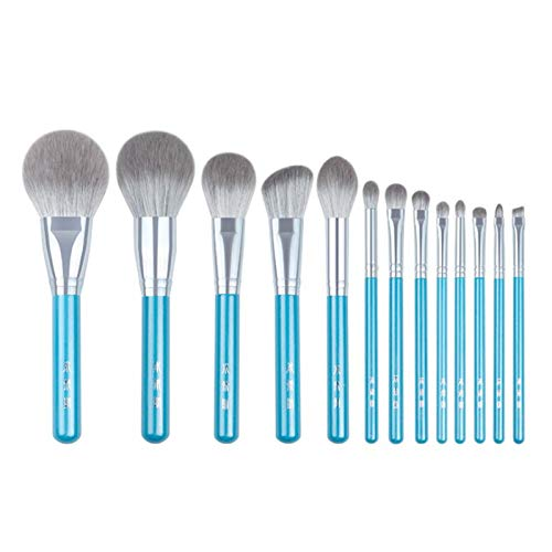 ADDYZ 13PCS azul maquillaje cepillo conjunto completo de polvo grande rubor sombra de ojos cosmética manga manchada pluma fluorescente ceja cepillo