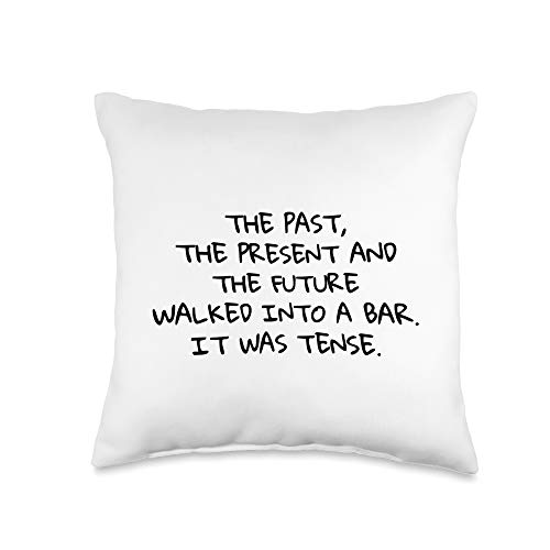 Tees for Translators Past, Present & Future Walked Into Bar Language Joke Throw Pillow, 16x16, Multicolor