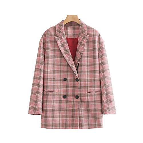 Green Plaid wijnoogst-dubbele rij geruit blazer mantel vrouwen gekerfde kraag lange mouwen los chique bovenkleding