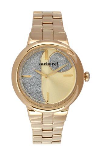 Cacharel - Reloj Analógico de Cuarzo para Mujer, Correa de Acero Inoxidable Color Dorado