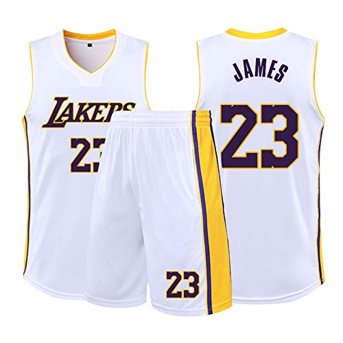 XiNiCity KeLaiTang Basketball Trikot-Set, Lakers No. 23 James Jersey, geeignet for Studenten, Jugendliche (weiß) (Size : M 155-160cm)