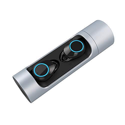 HX0945 TWS Bluetooth 5.0 hoofdtelefoon mini draadloze hoofdtelefoon hoofdtelefoon sporthoofdtelefoon met microfoon IPX7 waterdichte oortjes, zilver