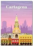 DJNGN Letreros de metal de viaje a Cartagena, cartel Traveltástico, letreros decorativos para pared, decoración del hogar, 20 x 30 cm