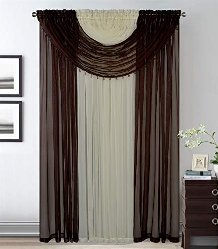 4 Panels With 2 Attached Valances All-in-One Brown Beige/Off White Sheer Rod Pocket Curtain Panel 84 Inches Long With Crystal Beads - Window Curtains for Bedroom, Living Room or Dinning Room