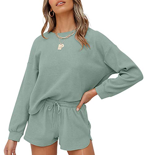 ZESICA Women's Waffle Knit Long Sleeve Top and Shorts Pullover Nightwear Lounge Pajama Set with Pockets Green
