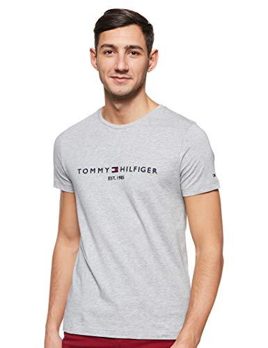 Tommy Hilfiger Tommy Flag Hilfiger Tee Top de Sport, Gris (Cloud HTR 501), Medium Homme