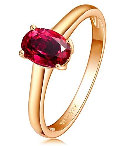 Aimsie Mujer Unisex 18 K oro amarillo 18 quilates (750) talla ovalada rojo Ruby