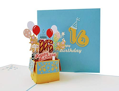 iGifts And Cards Happy 16th Birthday Party Box 3D Pop Up Grußkarte (blauer Einband) – Sixteen, Awesome, Luftballons, einzigartig, Feier, Feliz Cumpleaños