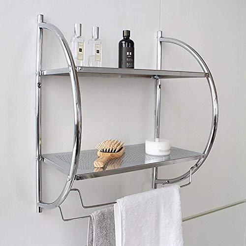 Estante para baño, toallero con 2 Niveles de repisas y 2 Colgantes para Toallas. Estantería para Almacenamiento de cosméticos. Organizador de baño en la Pared