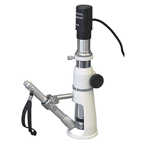AmScope H100-E2 Digital Handheld Stand Measuring Microscope, 100x Magnification, 17mm Field of View, Includes Pen Light, 2MP Camera, and Software