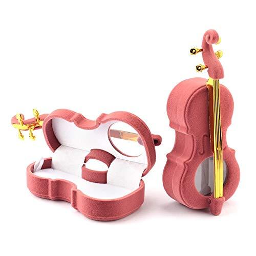 pojhf GYDSSH Cello Caja de Regalo de la joyería del sostenedor Caja de la Caja de Terciopelo Caja del Anillo de Bodas de los Pendientes del Collar de visualización (Color : D)