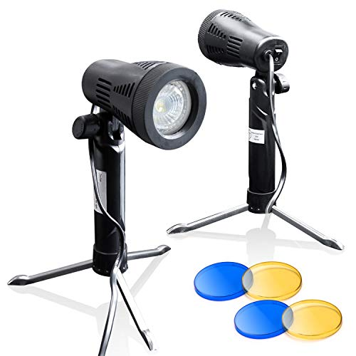 LimoStudio Photography Continuous LED Portable Light Lamp with Table Top Studio with Color Filters for Photography Photo Studio, 2 sets, AGG1501