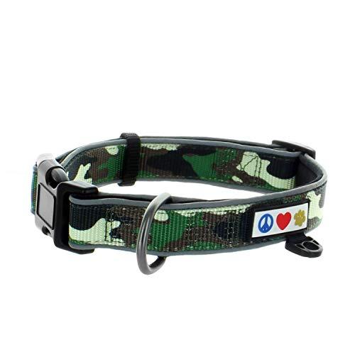 Pawtitas Collare per Cani Imbottito, Regolabile e Riflettente, Taglia Medio/Grande (Diametro 34-52 cm) Camuffare Verde M/L