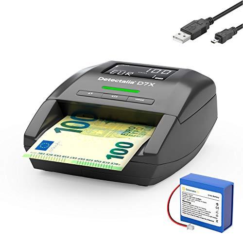 Detectalia D7X - Détecteur automatique de faux billets, câble de connexion et batterie avec 100% détection et prêt pour les nouveaux billets 14 x 12 x 6 cm