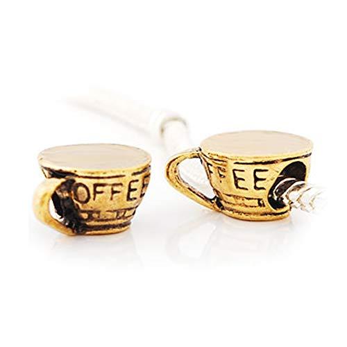 Andante-Stones 14K Gold Antique Vintage Bead Charm Kaffeetasse mit Coffee Gravur - Element Kugel für European Beads + Organzasäckchen