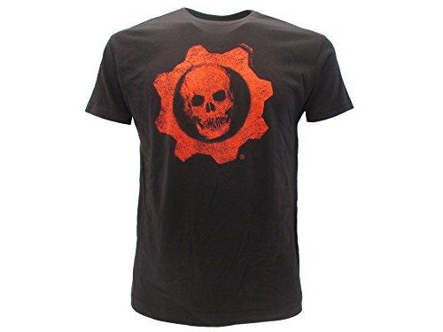 Gears of War T-Shirt Originale 4 Teschio Classic Cog Logo Marchio Nera con cartellino ed Etichetta di originalità Maglia Maglietta (S Adulto)