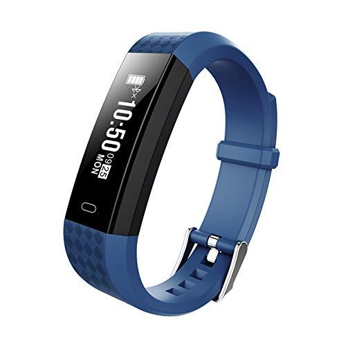 Soulitem- Pulsera Inteligente con frecuencia cardíaca y podómetro de monitoreo del sueño Impermeable, Color Azul Marino