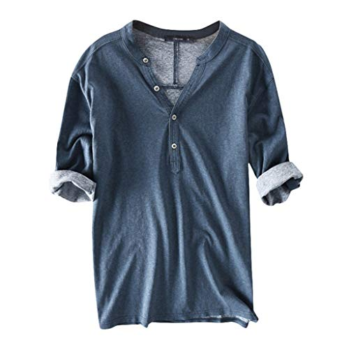 Big Sale! Fastbot Men's T-Shirt Tops Sleeves Cotton V-Neck Button Breathable Shirt 2019 New Blue