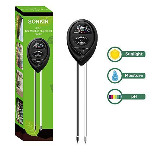 Sonkir Soil pH Tester, MS03 3-in-1 Soil Moisture/Light/pH Tester Gardening Tool Kits for Plant Care, Great for Garden, Lawn, Farm, Indoor & Outdoor Use (Black)