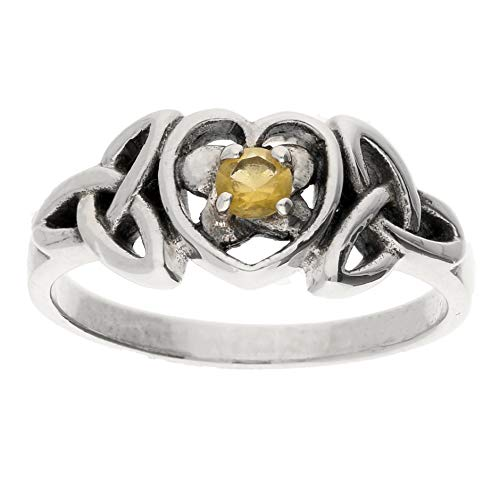 November Birthstone Ring - Sterling Silver Simulated Citrine Glass Celtic Trinity Knot Heart Size 6(Sizes 4,5,6,7,8,9,10)